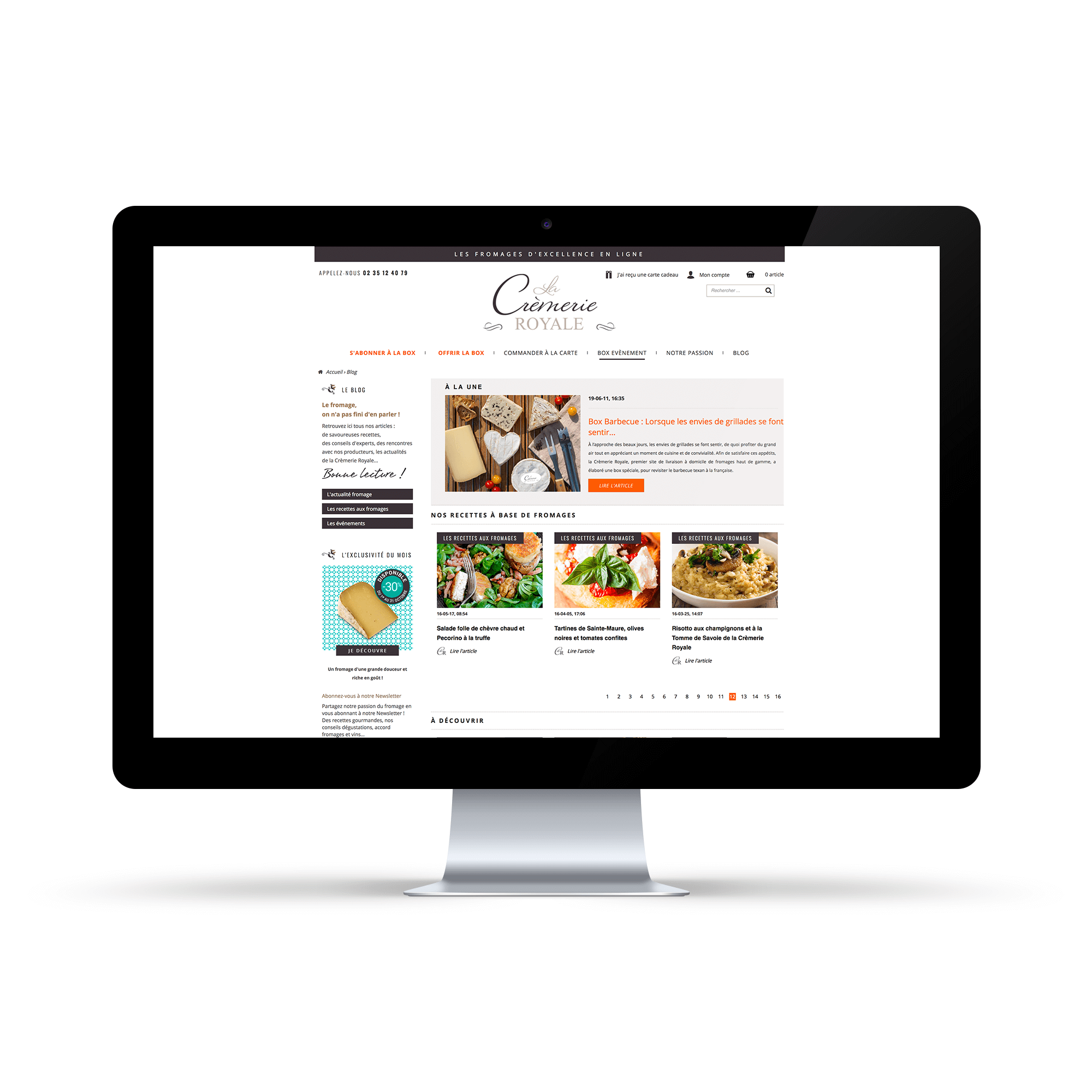 Site internet La Crèmerie Royale - Page Blog