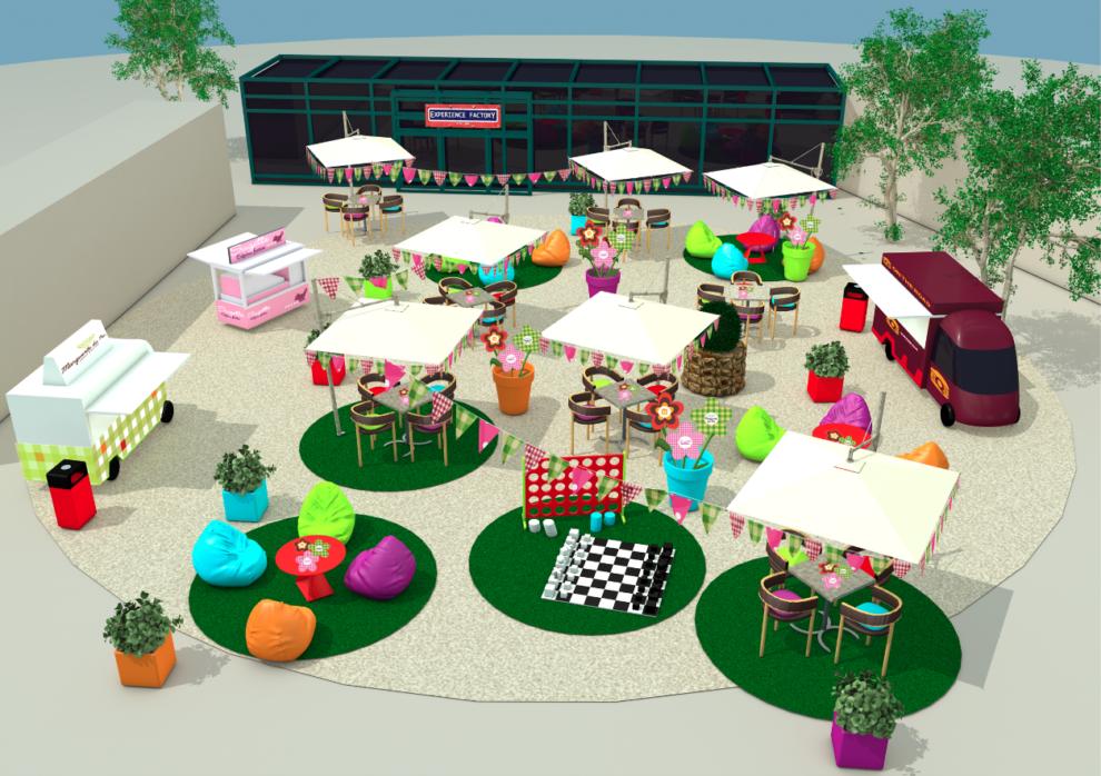 3D Foodshow restaurant Center Parcs vue du dessus