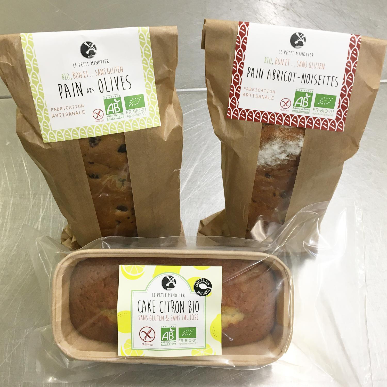 design packaging cakes et pains le petit minotier
